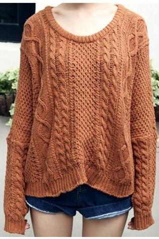 Woman'S Braid Rond Neck Sweater