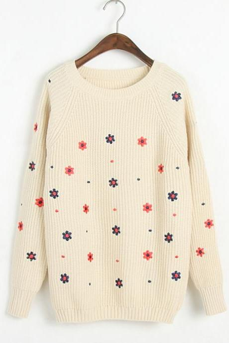 Woman'S Full Flowers Pattern Sweater