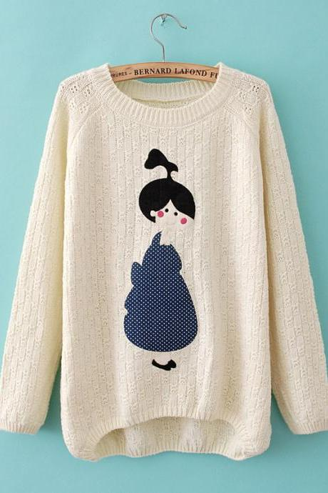 Woman'S Girl Pattern Round Neck Knitwear