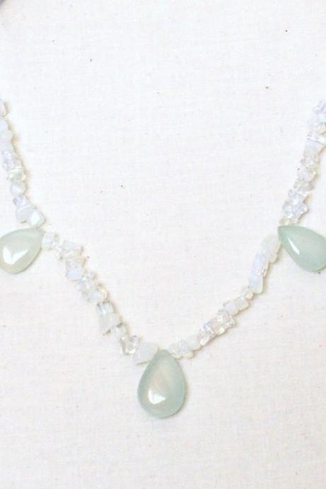 SNOW--Chalcedony and Opal Necklace