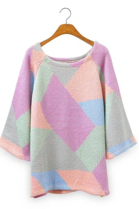 Woman'S Multicolor Patchwork Sweater