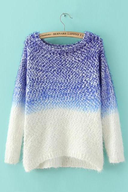 Woman'S Patchwork Pattern Round Neck Sweater