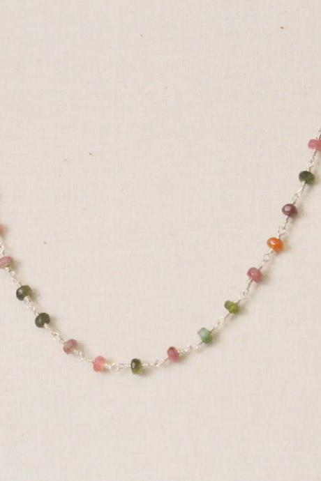 RAINBOW--Faceted Tourmaline Sterling Silver Necklace