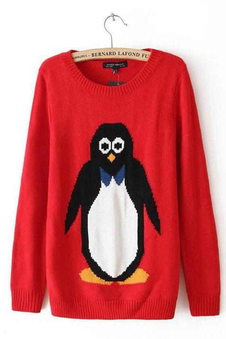 Woman'S Penguin Pattern Round Neck Sweater