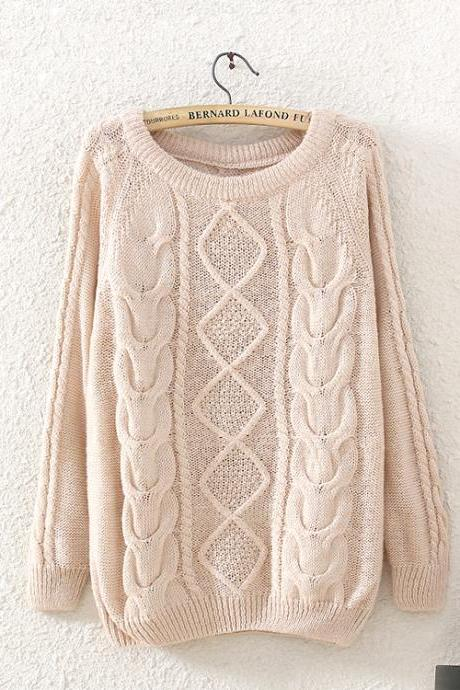 Woman'S Rhombus And Braid Round Neck Knitwear