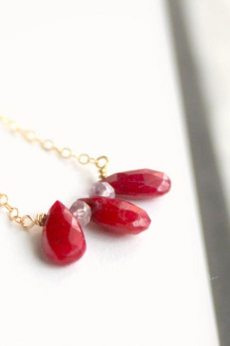 SALE-ROUGE--Striking Faceted Red Ruby Briolette Trio and Gold Fill Necklace
