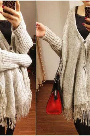 Oversized Grey Tassel Cardigan Winter Sweater Clothing