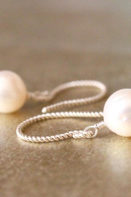 Round Pearl and Sterling Rope Earwire Earrings