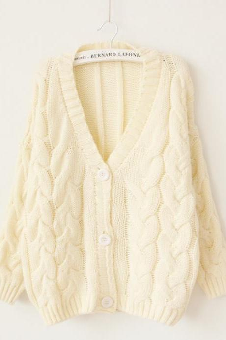 Woman'S Braid V Neck Sweater Cardigan