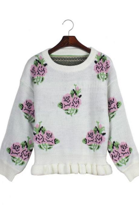 Woman'S Rose Pattern Round Neck Sweater