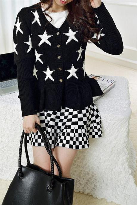 Woman'S Stars Pattern Sweater Cardigan