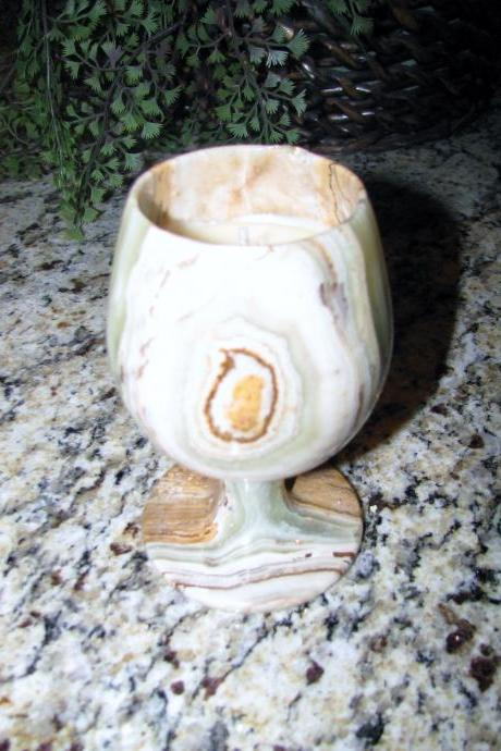 1 each VERY UNIQUE HANDCRAFTED Highly Scented Candle 6 oz Genuine MARBLE WINE GOBLET Your Choice of HONEY Scents