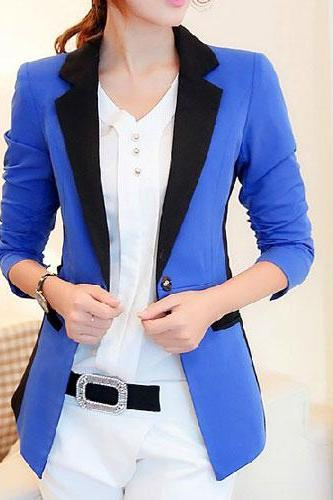 Contrast Color Three Quarter Sleeve Tunic Blazer Jacket Coat