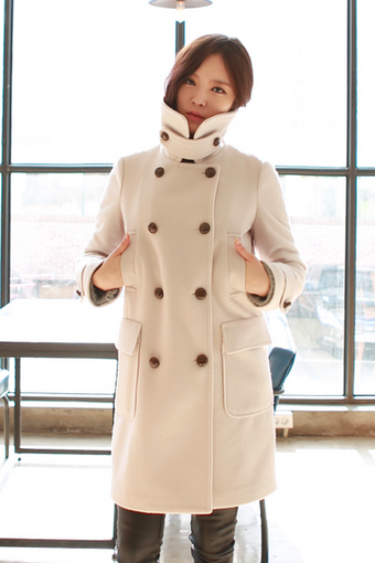 Cream White Beige Women Casual Office Chic Trendy Modern Look Long Jacket Winter Autumn Coat Padding Outerwear