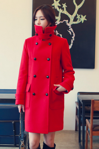 Red Women Casual Office Chic Trendy Modern Look Long Jacket Winter Autumn Coat Padding Outerwear