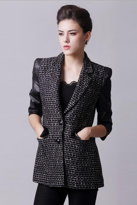 Three-quarter Length Sleeves Women Black Jacket