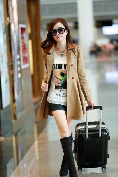 Women Double-breasted Suit Khaki Coat