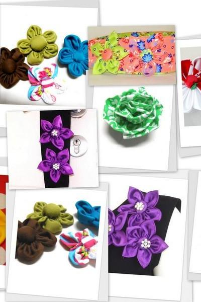 Fabric Flower Tutorial Bundle, Five Flower Pattern, pdf pattern