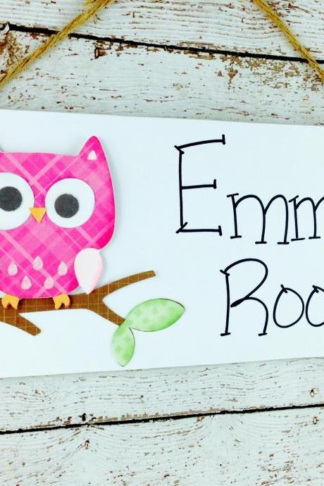 Personalized Kids Room Door Sign Bright Pink Owl