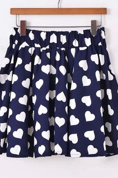 2014 Spring Summer Lovely Heart Dark Bule Chiffon Skirt