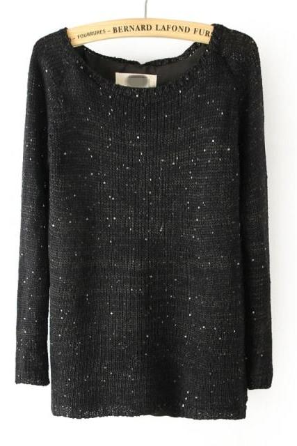 Knitted Black Bateau Neck Long Sleeves Sweater Featuring Sequin Embellishments