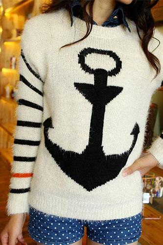 Black Color Navy Style Anchor Strip Print Soft Sweater