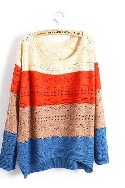 Cute Spell Color Stripe Casual Long Sleeve Loose Sweater