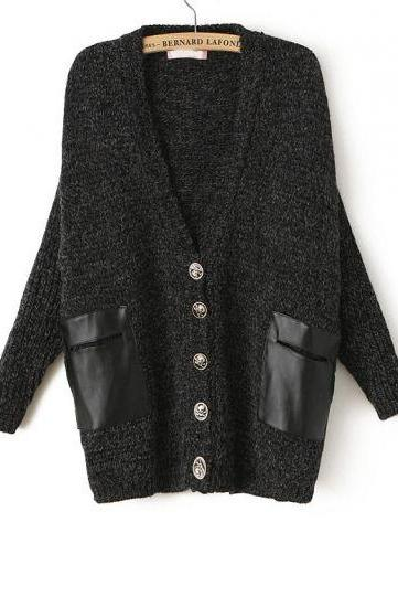Fashion Black Long Sleeve Contrast Leather Pockets Cardigan