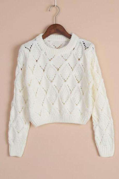 Retro hollow hedging long-sleeved sweater NB929BH