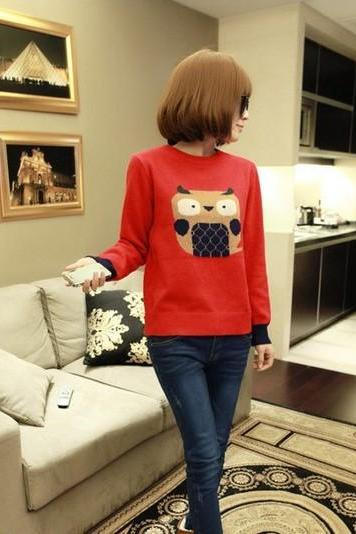 Fashion Top Sweater Jumpers Cute Cartoon Owl Lady Loose Warm Sweaters High Quality
