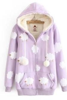 Cloudy Sheeps Hooded Jacket Coat. Four Colors Available