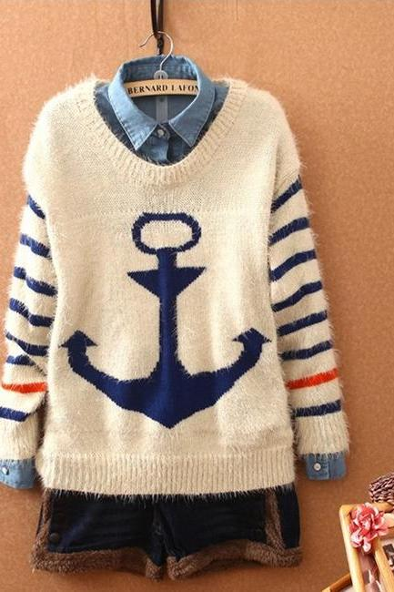 Cute Anchor Sweater For Women