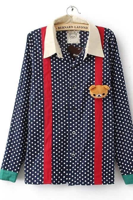 New Spring Autum Fall 2014 Polka Dot Vintage Shirt