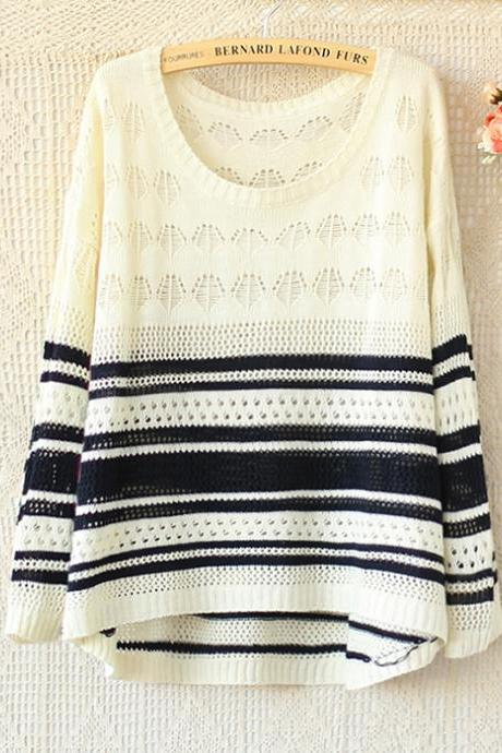 Hit The Color Long-sleeved Striped Sweater Hollow A 082903