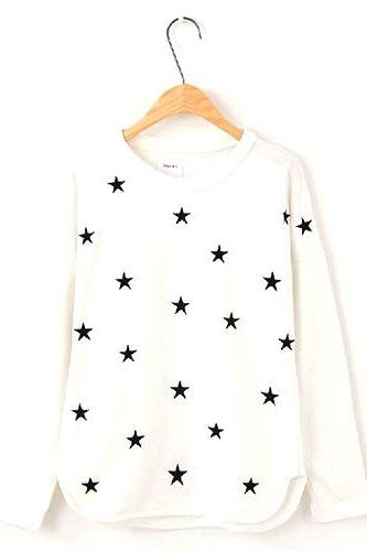 Black Star Embroidered White Crew Neck Pullover