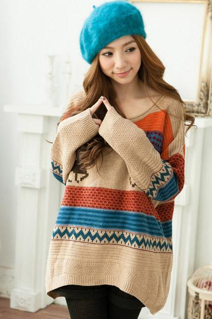Free Shipping Sweater Cute Deer Patterns Color Block Stripes