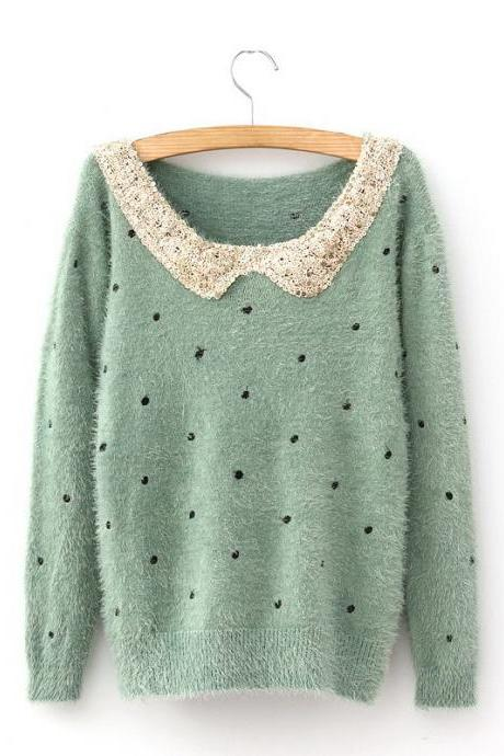 Doll Collar Polka Dot Pattern Women's Sweater
