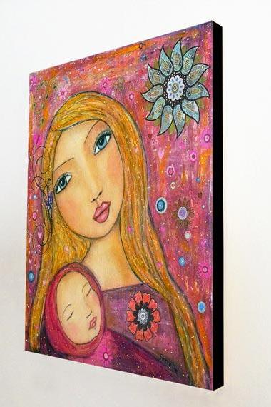 Large Wood Block Print Sweet Lullaby Mother Baby Painting