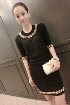 In The Fall Of The New Manual Nail Bead Knitting Two-Piece Cultivate One's Morality Dress