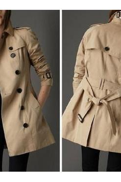 Celebrity Street Style Turndown Collar Long Sleeves Double Breasted Kharki Nylon Regular Long Trench Coat