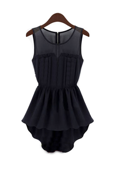 Fashion O Neck Tank Sleeveless Chiffon Asymmetrical Mini Dress - Black