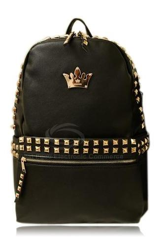 Rivet Crown Design Black Backpack