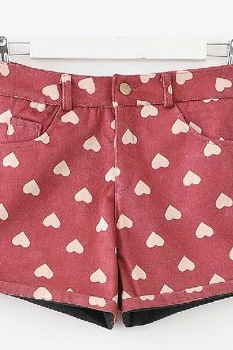 Sweet Love Heart Slim Fit Shorts Short Pants Trouser