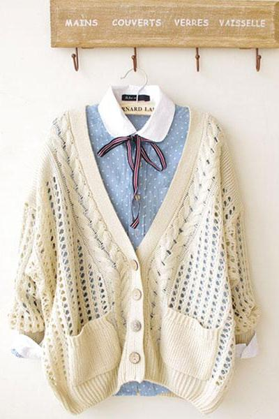 Unique Fresh Floral Crochet Cardigan - Beige