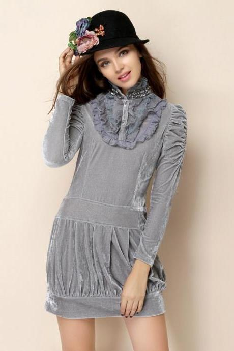 *Free Shipping* Lotus Sleeve Slim early autumn new European and American big temperament sleeve dress bottoming