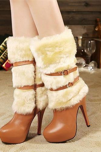 Cheap Winter Round Toe Zipper Buckle Design Fur Patchwork Stiletto Super High Heel Brown PU Mid Calf Martens Boots