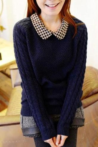 Cute Plaid Twist Lapel Nice Sweaters