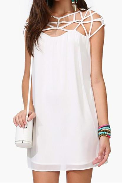 White Shift Dress With Cut Out Neckline Details