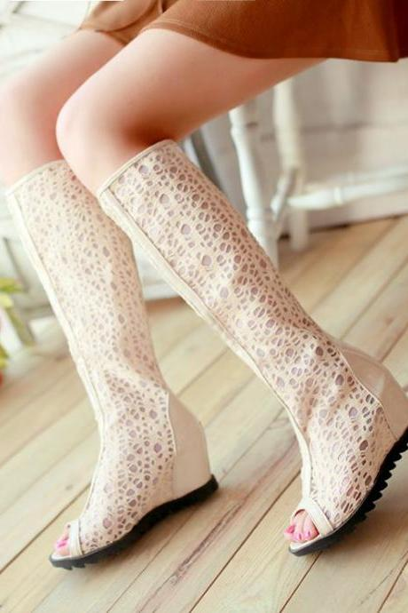 Elegant Peep Toe Knee High Wedge Heels Fashion Boots For Summer In Apricot Color