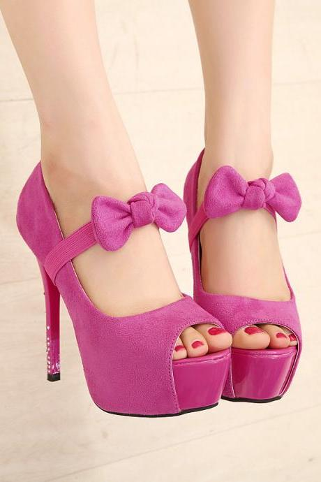 Fine With High-heeled Waterproof Fish Head High-heeled Sandals Bow